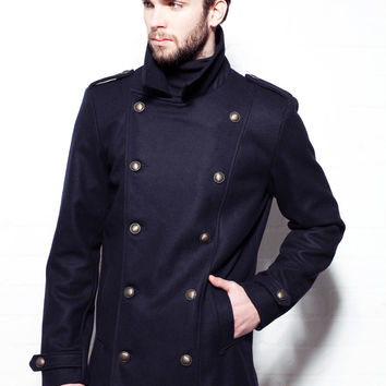 Men's Navy Military Wool Pea Coat