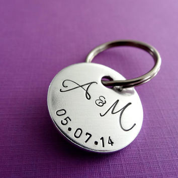 Personalized Keychain - Initials and Date - Hand stamped Circle Key Chain Accessory