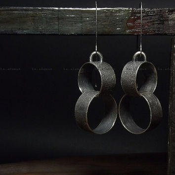 Long earrings Raw sterling silver Oxidized Sterling silver earrings