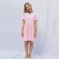 Peter pan collar cotton knit smock dress, babydoll dress, sun dress, Loose style