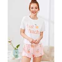 Multicolor Polyester Fruit Print Pajama Set