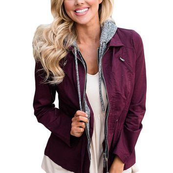 Contrast Hooded Plum Hiking Jacket
