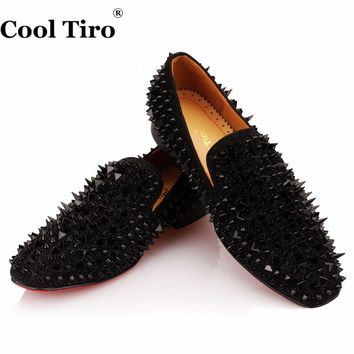 Smoking Black Spikes Rhinestones Glitter Men Loafers