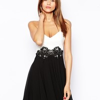 Lipsy Prom Dress With Lace Applique Waist and PU Bodice