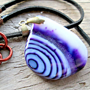Small Agate Stone Necklace - Blue Agate Necklace - Spiritual Jewelry - Deep Purple Stone Slab - Geode Slice - Bohemian Jewelry