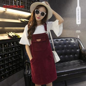 Winter Korean Women Sleeveless Dress Fashion Loose Strap Corduroy Pink Dress Autumn Vintage Cute Casual Female Overalls Dresses