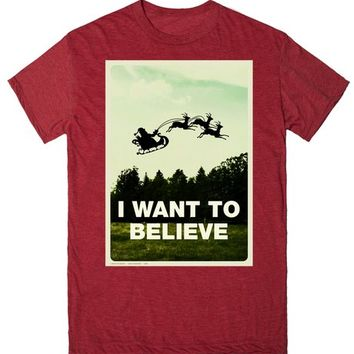 X-Files Christmas - I Want To Believe (In Santa Claus) | T-Shirt | SKREENED