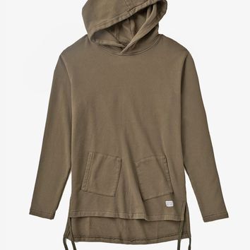 Diagonal Pocket Hoodie in Dark Washed Olive