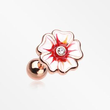 Rose Gold Plated Hawaiian Hibiscus Flower Cartilage Earring