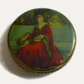 Vintage Medieval Theme Tin Renaissance Home Decor Lithograph Tin Biscuit Collector Tin Storage Container Art Nouveau Decorative Keepsake Box