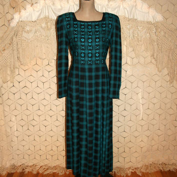 90s Long Sleeve Winter Maxi Long Plaid Dress Medium Rayon Grunge Teal Black Embroidered Sarah Elizabeth Size 8 Dress Women Vintage Clothing
