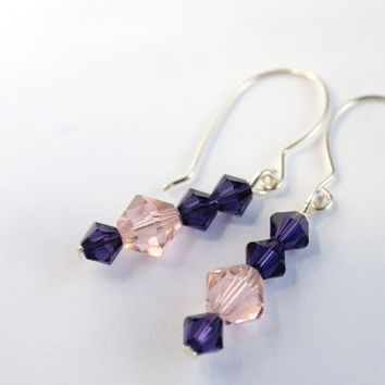 rose and purple dangle earrings