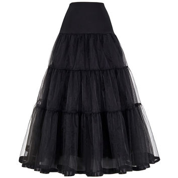 Tulle Skirts Womens Pleated Long Skirt Faldas Black Bridal Wedding Petticoat Midi 2017 Tutu Skirt Saia Longa Vintage Maxi Skirts