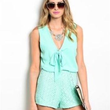 Janice Women Bow Knot Tie front Mint Green Eyelet Bottom Romper Jumpsuit