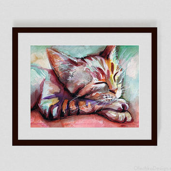 Watercolor Painting, Sleeping Kitten, Cat, Giclee Print, Home Decor, 5x7