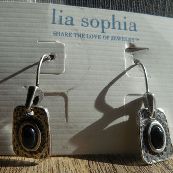 Lia Sophia Silver Tone Pendant Earrings