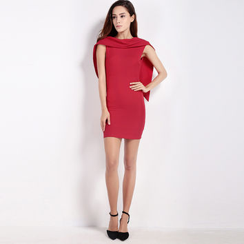 Solid Red Sleeveless Cape Bodycon Backless Mini Dress