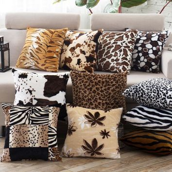 Leopard Animal Print Short Plush Square Decorative Cushion Covers for Sofa / Multi Patterns Throw Pillow Covers for Office Chair