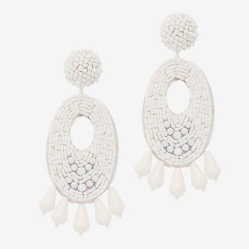 Kenneth Jay Lane Oval Beaded Earrings: White at INTERMIX | Shop Now | Shop IntermixOnline.com
