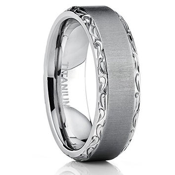 Men's Horizontal Brushed Titanium Wedding Band Ring With Hand Engraved High Polish Edges, 7mm Comfort Fit