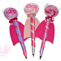 Pink and Purple Super Hero Lollipen, Lollipop, Candy Pen, Super Hero Favor, Super Hero, Candy, Birthday, Lollipop, Lollipop Pen, Girl