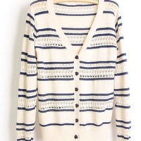 Hollow out Striped Navy Sweater$43.00