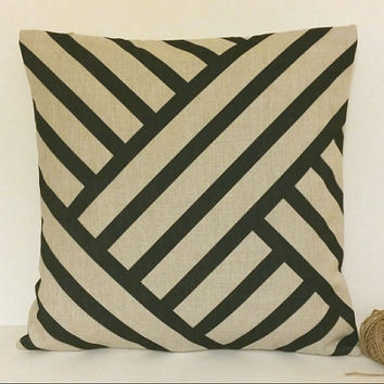 Pillow Cover, Black Stripes Pillow Cover, 18 x 18 Linen Pillow Cover, Geometric Pillow Cover, Throw Pillow, Toss Pillow, Sofa Pillow