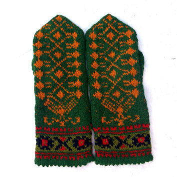 hand knitted wool mittens, knitted collorfull green orange mitts, knit latvian mittens, handmade nordic gloves, wool arm warmers, hand muffs