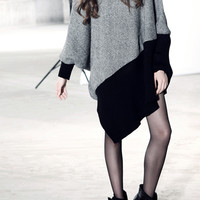 Cashmere Grey Joint Big Size Asymmetric Sleeve Batwing-sleeved Blouse,Cheap in Wendybox.com