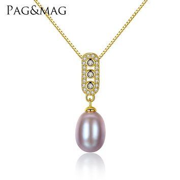 PAG&MAG Brand Classic Design 8-9mm Freshwater Pearl Pendant for Women 925 Sterling Silver Necklace Jewelry 3 colors to choose