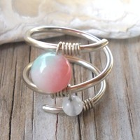 Brazilian Jade,Rainbow Moonstone Wrapped Silver Wire Twisted Ring