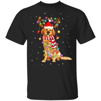 Cute Golden Retriever Christmas Lights Reindeer Pajamas