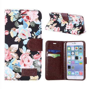 Floral Print Leather creative case Wallet