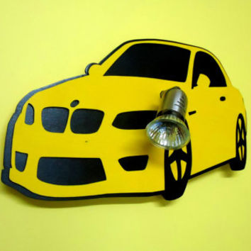 Car art children room  lighting shape as an Car to hang on the wall, made of wood laser cut