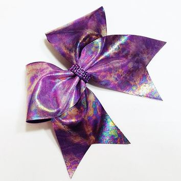 Purple cheer bow, Cheer bow, oil spill cheer bow, cheerleading bow, cheerleader bow, dance bow, soft ball bow, cheer bow, large cheer bow