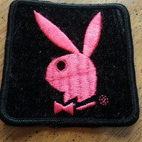 Vintage Playboy Bunny Black Velvet and Hot Pink Iron On Patch 1970s Machine Embroidered