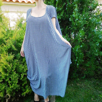 Black and White Long Asymmetric Dress / Oversized Summer Plus size Evening Dress / Loose Everyday Dress / Casual Cotton Dress by moShic D004