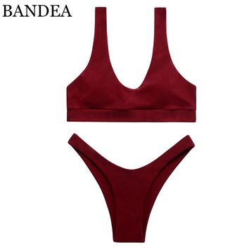 BANDEA 2017 bikini swimwear women sport top swimsuit padded bathing suit sexy high cut bottom push up trajes de bano women KM576