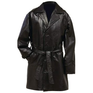 Genuine Leather Mid-Length Trench Coat