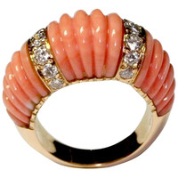 Cartier Paris Coral Diamond Yellow Gold Ring