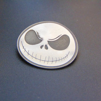 Beautiful sterling silver Jack Skellington pin-Nightmare before christmas silver brooch- Nightmare before christmas jewelry-Geeky jewelry