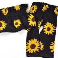 Sunflower Leggings, Girl Hipster, Flower, Baby and Toddler, Kid Fashion, Cute Kid Clothes, Modern Baby, Modern Toddler