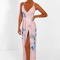 Valencia Beach Pink Floral Split Halterneck Maxi Dress