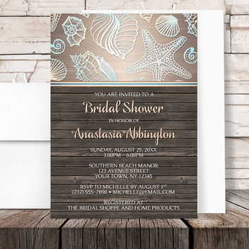 Beach Bridal Shower Invitations - Rustic Brown Wood and Seashell design with Blue and Orange Accents - Printed Invitations