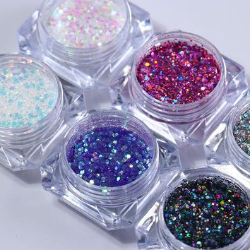 6 Boxes Holographic Nail Glitter Sequins Set Hexagon Laser Multi-color Paillette Manicure Nail Art Decorations