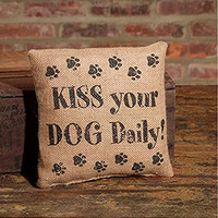 KISS Your DOG Daily! - Small Burlap Accent Throw Pillow 8-in x 8-in