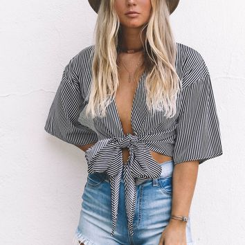 Give Me Butterflies Striped Black And White Top