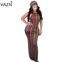 VAZN Ladies New Indie Folk Design Sexy Style Women Dress Retro Striped Halter Sleeveless Women Sheath Maxi Dress Vestido SY8288