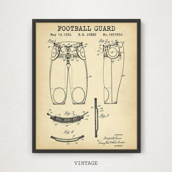 Football Guard Patent Poster, Digital Art Download, Football Sports Gift for Boys, Superbowl Art, Sport Bar Decor, American Football Prints