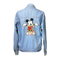 90s Mickey Mouse Jean Jacket Jerry Leigh, Medium Vintage Disney Denim Jacket Embroidered Mickey Patch, Grunge Coat Hip Hop Hipster Clothing